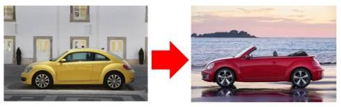 クローズドボディの車両(左)の屋根をカットしてオープンカーモデルを作る(右)
