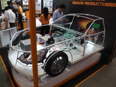車両の模型を使って車載コネクタやセンサーなどを展示していた