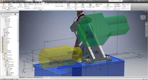 図1 3次元CAD空間上に2次元および3次元の要素を混在させながら構想設計ができる