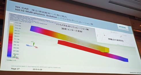 バイメタル熱・非線形構造連成解析のデモの様子