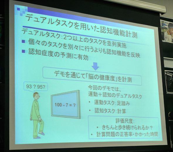 認知機能計測の説明スライド(クリックで拡大)
