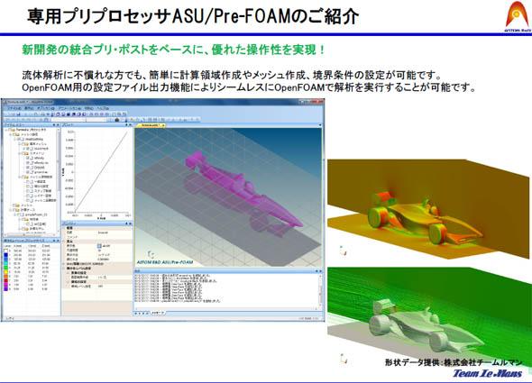 ASU/Pre-FOAMの操作画面。手動でセルを設定する場合も操作しやすいよう工夫している