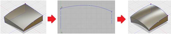 MODEL環境下におけるLoft形状の間接的な編集(Rail曲線のスケッチを編集)