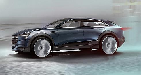 「Audi e-tron quattro concept」のデザインスケッチ