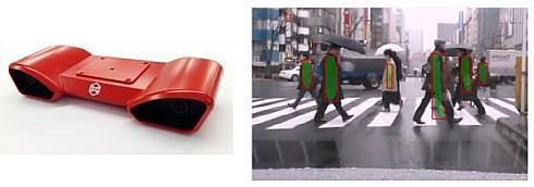 「ZMP RoboVision2」(左)とディープラーニングによる歩行者認識の例(右)