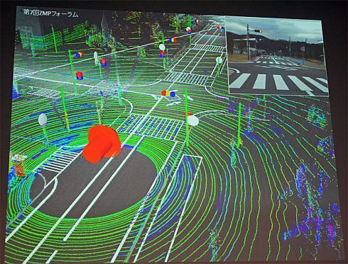 3次元地図と3次元レーザースキャナの情報をマッチングさせたイメージ図