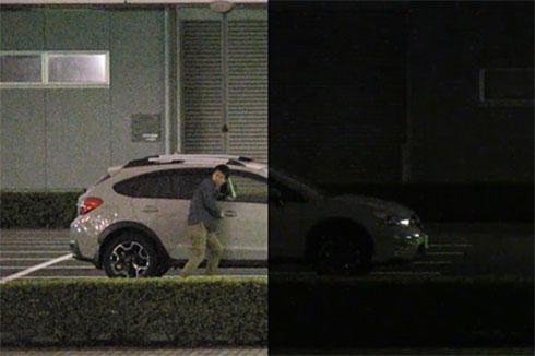 肉眼で見た場合(右)と開発中のネットワークカメラで撮影した映像(左)の違い(イメージ)