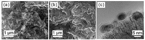 酸化ルテニウムナノ粒子触媒を挟んだナノ多孔質グラフェン電極のSEM画像とTEM画像