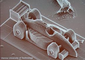 ウィーン工科大学開発のナノ単位で出力できる3Dプリンタの出力物