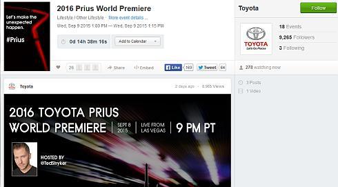 新型「プリウス」のライブ配信用Webサイト