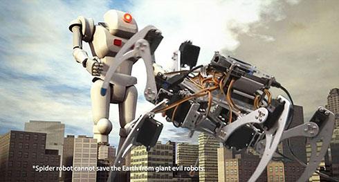 典型的なヘキサポッドは、より一般的で邪悪なロボットの概念と対峙する
