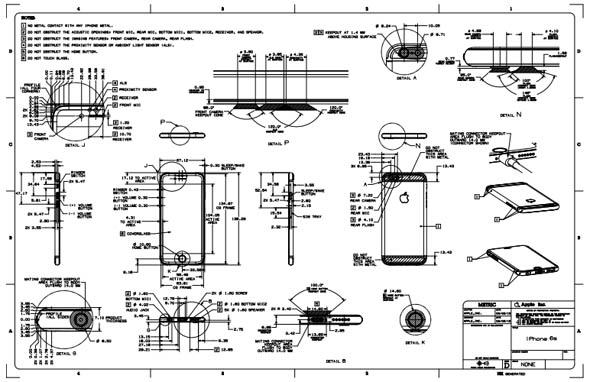 「iPhone 6s」の寸法図面