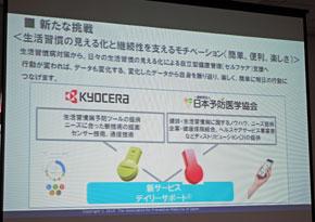 京セラと日本予防医学協会の協業を表したスライド