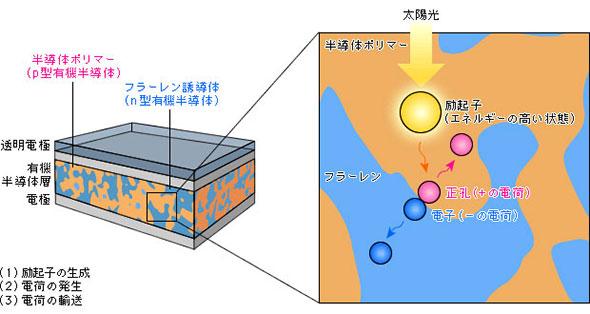 有機薄膜太陽電池の模式図と起電の原理