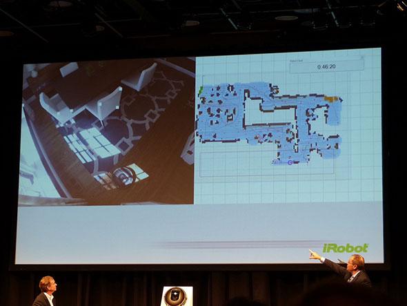 SLAMにより、ロボットが走った場所にマップが追加されていく