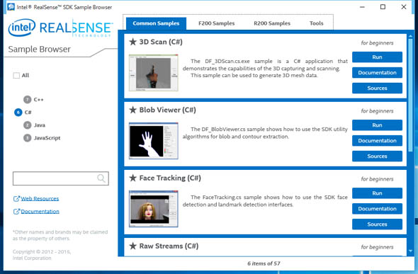 「Intel RealSense SDK Sample Browser」の画面