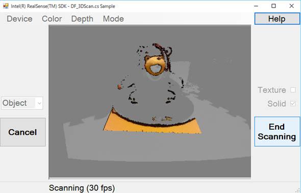 3Dスキャンが完了したら[End Scanning]をクリック