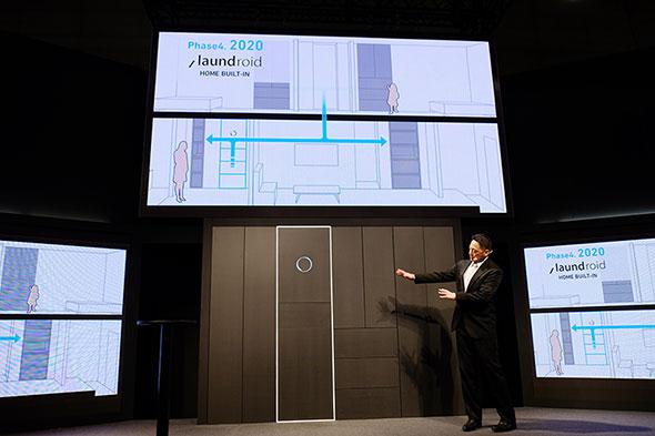 2020年に実現を予定するスマートハウスへのビルドイン。折りたたまれ、分類された衣類が各部屋に自動的に配られる