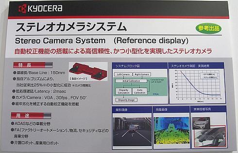 京セラのステレオカメラの説明パネル