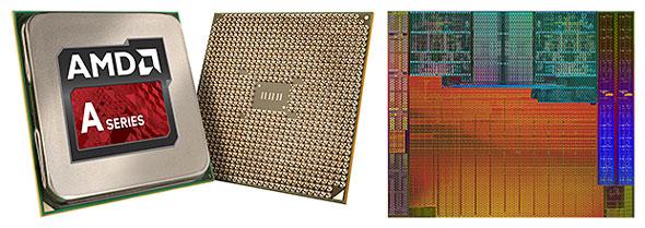 AMDのAPU Aシリーズの外観とダイ(オレンジ色に見える部分がGPU)
