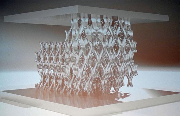 ソフトに希望強度などの条件を入れると、「生物のような有機的な形状で、設計を提案してくれる」(ブラッドショー氏)