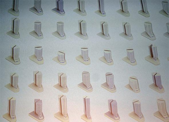設計ソフトが建物の設計案として生成した3次元モデルの一覧