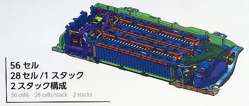 新型「プリウス」のリチウムイオン電池駆動用バッテリーの構成