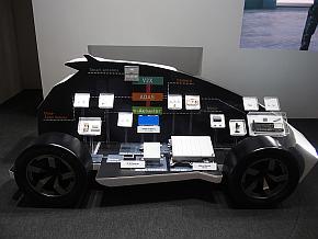 裏側にはTDKの自動車向け製品が展示されており、下側にはワイヤレス充電システムが組み込まれている