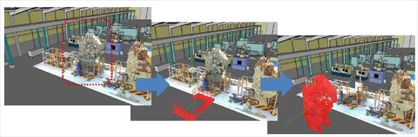 同社提供の「既存設備の搬出」時の利用例。設備の点群モデルを分解単位でグループ化し、XVLの工程機能で分解手順を定義、3Dアニメーションで再現している