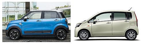「キャスト」の「アクティバ」(左)とベース車である「ムーヴ」(右)の比較