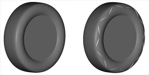 ノーマルタイヤ(左)と新形状エアロダイナミクスタイヤ(右)のイメージ画像