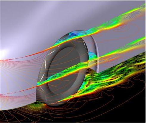「新形状エアロダイナミクスタイヤ」の空気の流れ