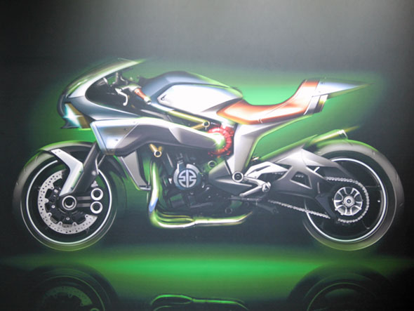 カワサキ製品の魅力を受け継いだ、未来のモーターサイクルのコンセプト「Concept SC 01 -Spirit Charger-」(スケッチ)