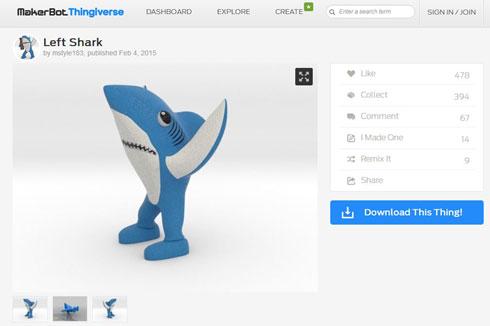 「Thingiverse」に掲載されている「Left Shark」のデータ