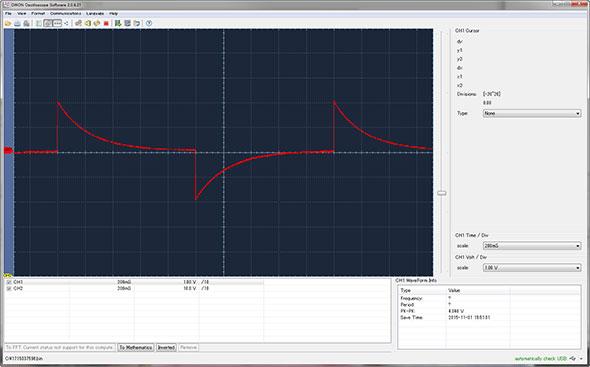 横軸は200msecで、ほぼ1秒ごとにOn/Offを繰り返している様に見える