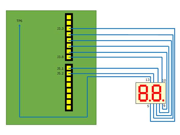 MAX 10と7セグメントLED「HDSP-K211」の配線図