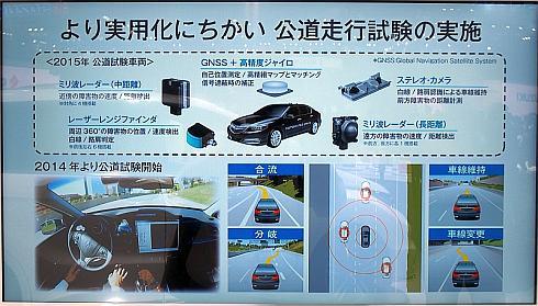 ホンダが開発中の高速道路向け自動運転技術の実験車の概要