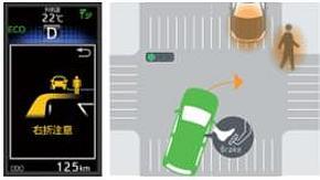 信号機に取り付けられたセンサーが自動車に対向車や歩行者の存在を警告