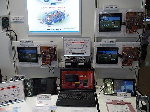 東芝情報システムのEthernet AVBの展示デモ