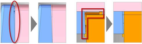 アセンブリに含まれるすき間を埋めた例。ブーリアン演算の改良により精度が大幅に向上