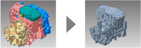 アセンブリから内部空洞を抽出し、1つのソリッドモデルを作成した例