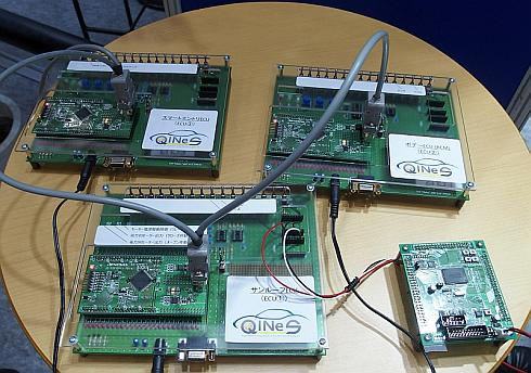 「QINeS-BSW」を組み込んだ「RL78」の開発ボードを用いた車載システムのデモンストレーション