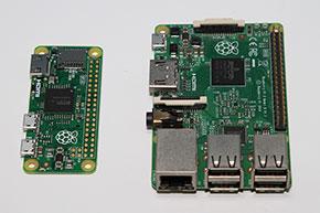 左がRaspberry Pi Zero、右がRaspberry Pi 2 Model B