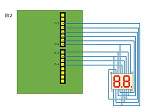2桁のダイナミック点灯を行う配線図