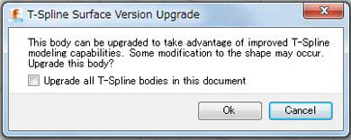 T-Spline Surfaceのアップグレード通知