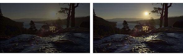 図1 従来の映像(左)とUltra HD Blu-rayの映像(右)の対比
