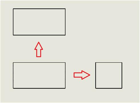 先ほどと同じく正面図が決まったら平面図、側面図を描いていく