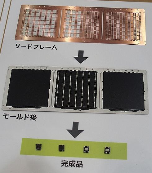 「PMAP」のリードフレーム(上)、モールド後の状態(中央)、ダイシングした後の完成品(下)