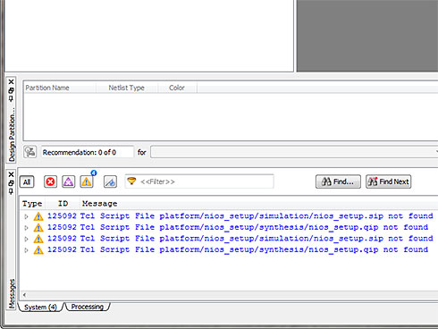 Photo06:画面下のステータス表示に注目。nios_setup.sip/nios_setup.qipが無いと表示されている