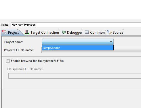 Photo30:Project名を選ぶと自動的にElf file nameも選択される